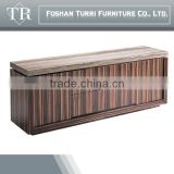 Modern luxury ebony veneer sideboard with natural marble top
