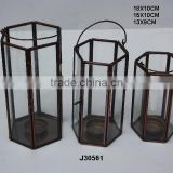 Brass and glass Votive Lantern hexagon with Antique finish