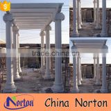 Norton polished rectangular design white hand-carved sandstone gazebo for square decor NTMG-069L