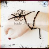 Wholesale Fashion Black Chain Handflower Midnight Flower Strange Jewelry Ring Bracelet