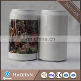 Sublimation ceramic personalized Saving banks, with black rubber stopper on bottom