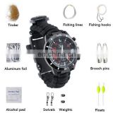 16 in1 Outdoor Paracord Fire Starter Compass Whistle Survival Bracelet Tactical Emergency Survival Watch