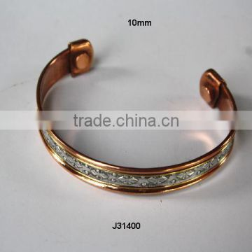 Magnetic copper bracelet two tone copper and floral pattern steel Wearing it has health benefits