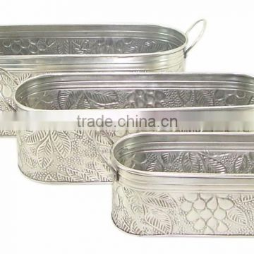 silver plated garden used metalic planters