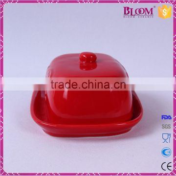 red glazed ceramic butter dish for tableware