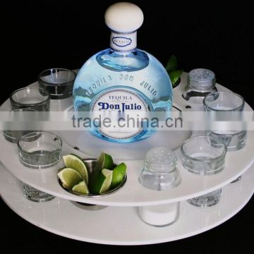 Supply round and square acrylic bottle and cup bar tray