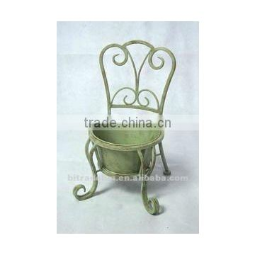 tiny chair with metal flower pot
