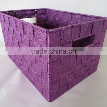 Wholesale handcrafted rectangular webbing woven nylon basket for storage
