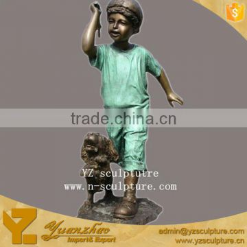 Brass children life size boy playing with dog statue BFSN-B043A