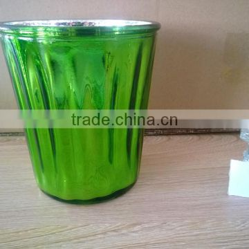 green color Eco-friendly Colored Electroplated Glass Jars Bulk Wholesale Mercury For Candle in different size