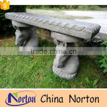 antique stone horse head statues carved outdoor bench NTMF-B006Y