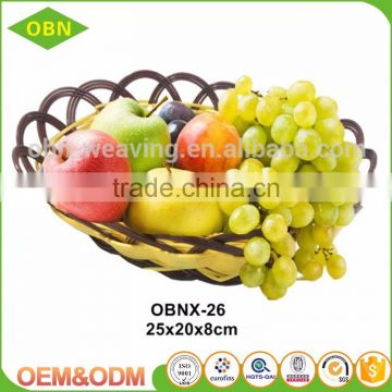 Fancy modern design handmade flat oval woven PP plastic fruit basket