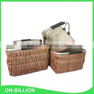 Wicker shopping baskets with liner and handles