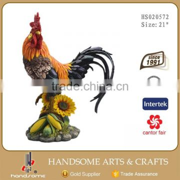 21 Inch Home Decoration Large Animal Sculpture Resin Rooster Statue