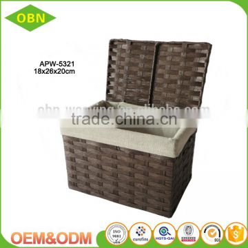 Quality paper rope rectangular storage basket with lid