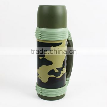 Wide mouth thermos camouflage travel pot flask with handle