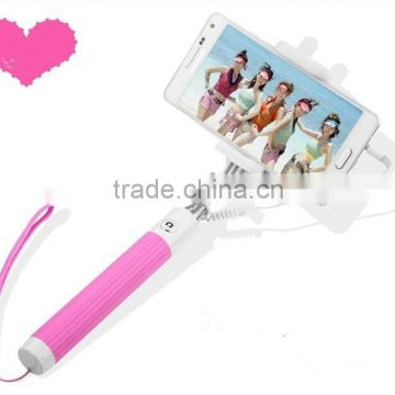 2015 Newest Folding Selfie Stick , Mini wired Monopod With Audio Cable