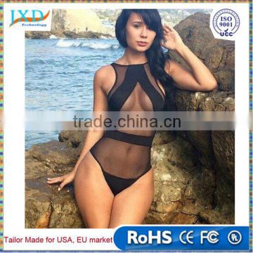 de0534c9d Sexy Swimwear Women High Cut One-piece Swimsuit See-Through Mesh Backless  Monokini Plus ...