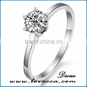 One Stone CZ rhinestone stainless steel rings for women wedding ring stone