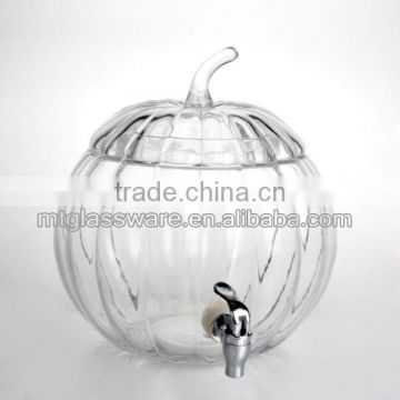 the glass pumpkin shaped beverage dispenser with metal stand