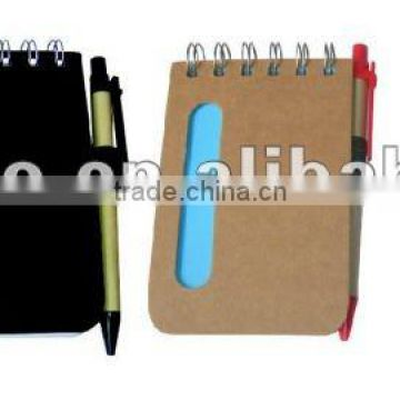 Good looking natural ECO friendly Recycled paper note book with pen