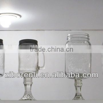 glass footed square mason jar with handle