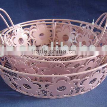Pink round wire iron net storage collect tray with ear handle