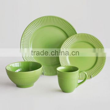 16pcs high quality embossed dinner set with purple solid color