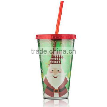 cheap factory audit 16oz plastic straw cup for christmas sale