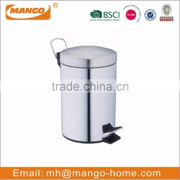 Household usage stainless steel trash can with pedal