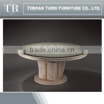 high quality natural marble with glass on top small round coffee table