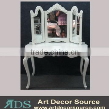 pure white dressing table with folding mirror