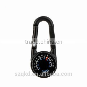 3 in 1 Compass Carabiner Thermometer Military Outdoor Mini Metal Compass