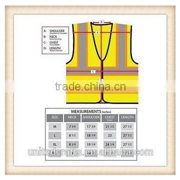 New High Visibility Safety Vest with Zipper Reflective Tape Strips yellow
