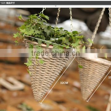Natural rattan woven decorative cone hanging basket