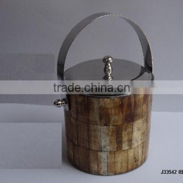 Steel Ice bucket with mosaic of Bone in antique finish