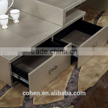 2016 modern design removable stylish new center table coffee table covered by PU for stainless steel furniture