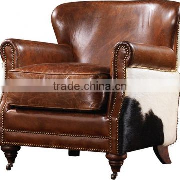 2016 high quality retro ,vintage leather leisure chair for living room C606#