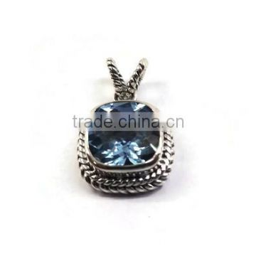 925 sterling silver classic cushion Sky Blue topaz gemstone pendant