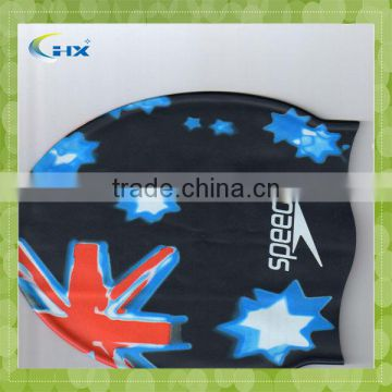 customized logo printed waterproof silicone funning swimming cap