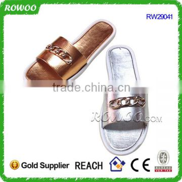shiny pu spa lady slippers beach woman slippers plastic