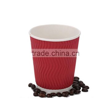 8oz food grade red color ripple wall disposable paper cups
