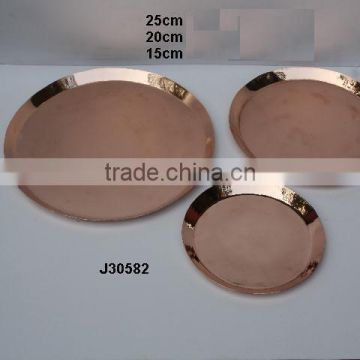 Metal round plates bowl in mirror polish