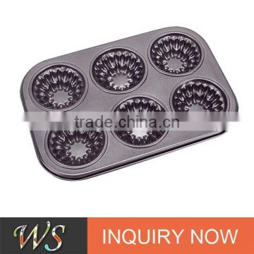 6 Cups Sock Shape Carbon Steel Muffin Mould for Bakery