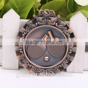 best selling golden zinc alloy Table Tennis medal