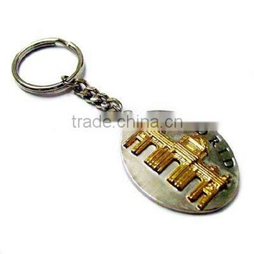 Zinc alloy keychain with gold plating
