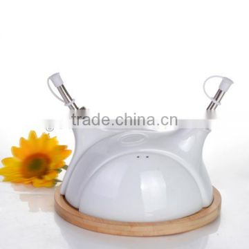 Hot selling white double style ceramic olive oil bottles with wooden holder