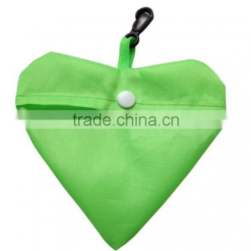 heart shape grreen foldable polyester bag