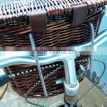 High quality wicker woven brown removable bicycle basket with lid