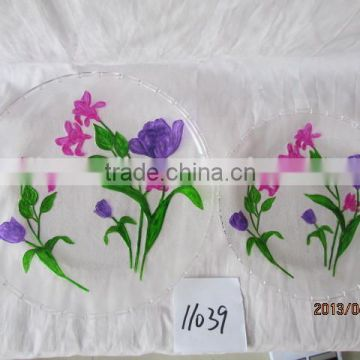 round shape Good Quality Decorative Glass Plate Sets Embossed Clear Glass Dinner Plates
